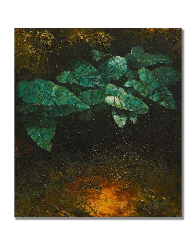 John J. Bedoya, Filodendro Verde, Green Philodendro, 2018, 68.5 x 60.62, mix media (1)